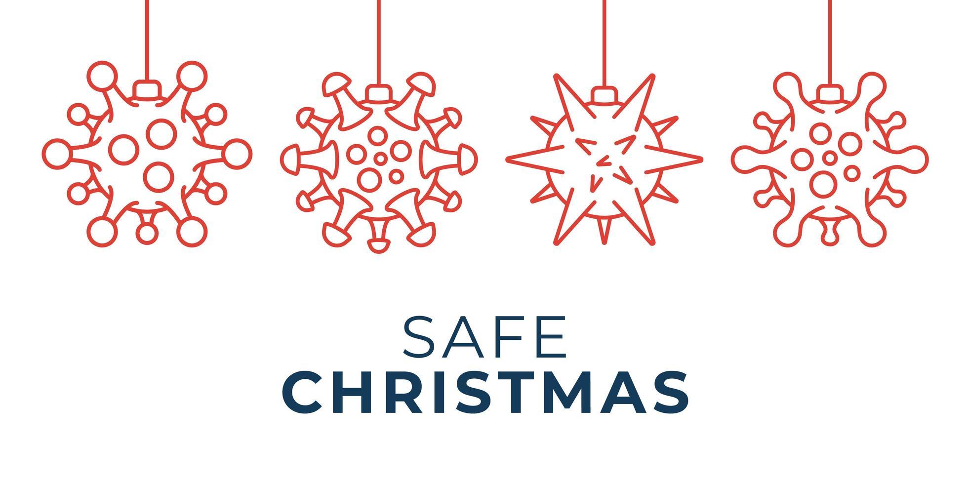 sichere Weihnachten Coronavirus Ball Ornament Banner vektor