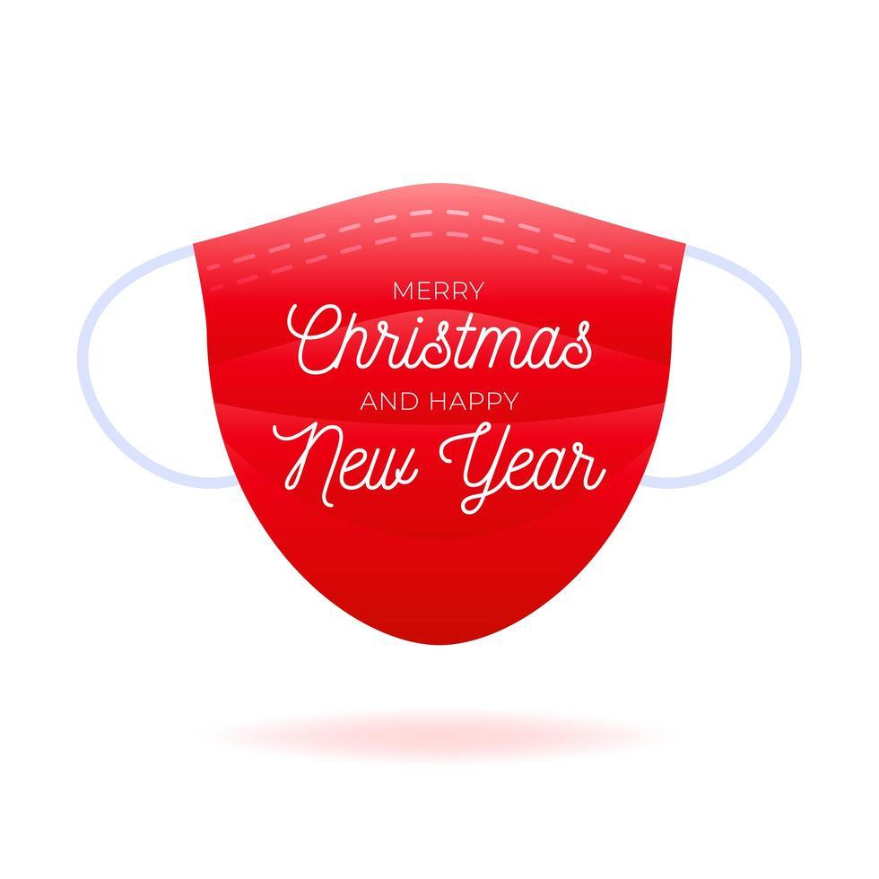 Maske mit Text Frohe Weihnachten und ein gutes neues Jahr vektor