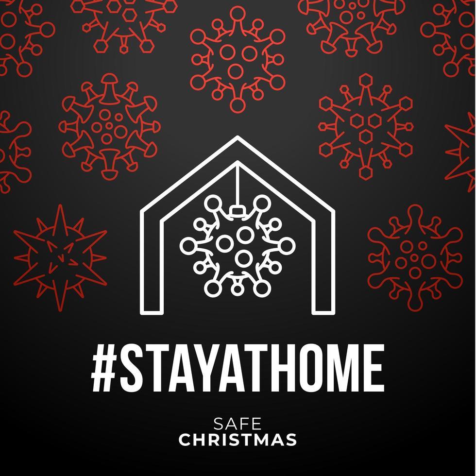 stanna hemma säker jul coronavirus affisch vektor