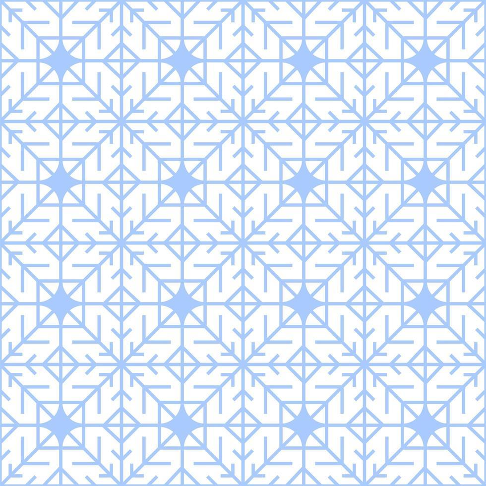 nahtloses Wintermuster der geometrischen blauen Schneeflocke vektor