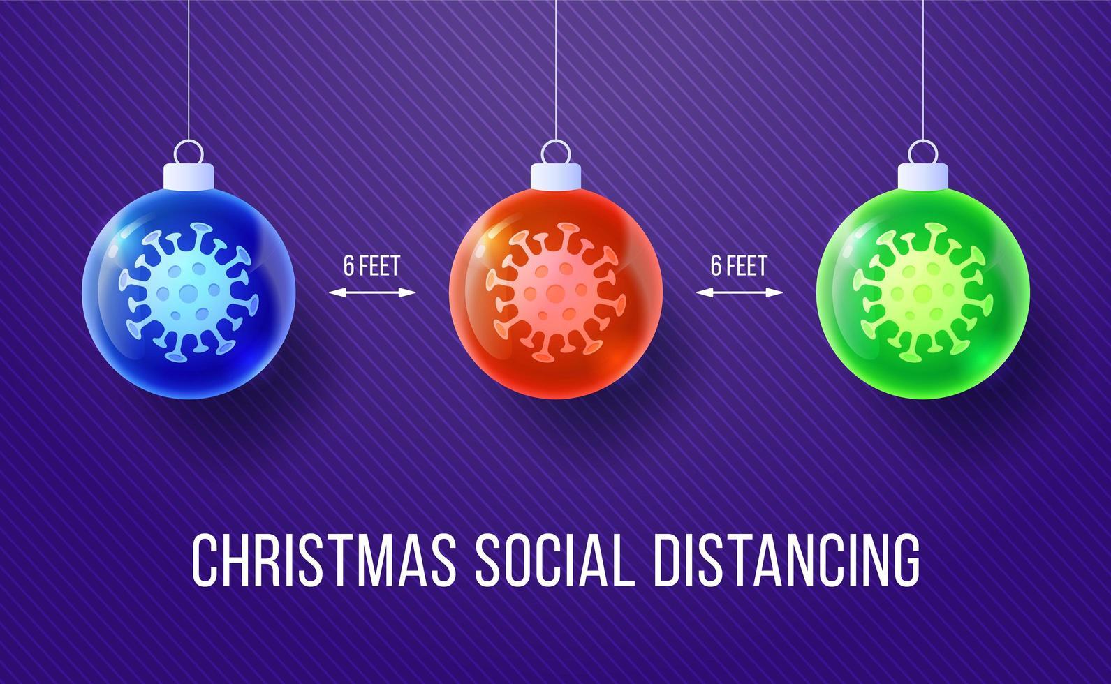 Weihnachten soziale Distanz Banner mit glänzenden Ornamenten vektor