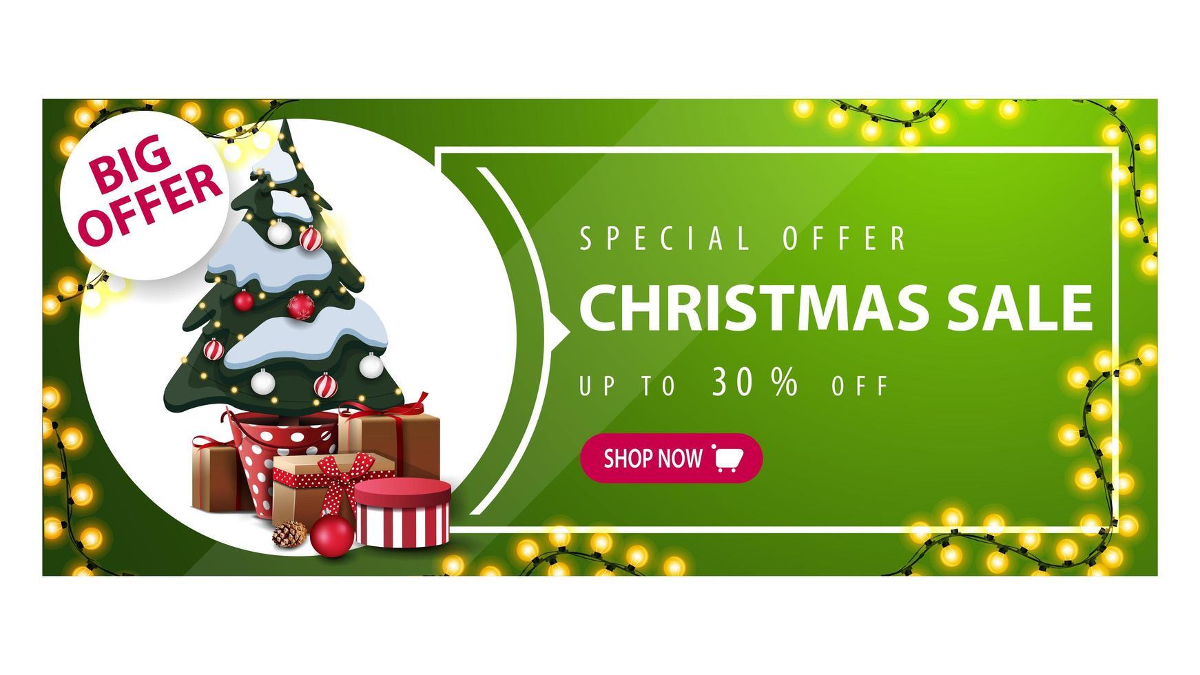 Rabatt-Banner mit Girlande, Knopf und Weihnachtsbaum vektor