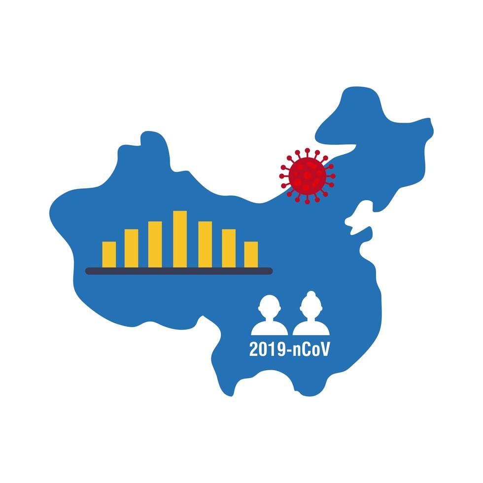 Chinesische Karte mit Coronavirus-Infografik-Symbol vektor