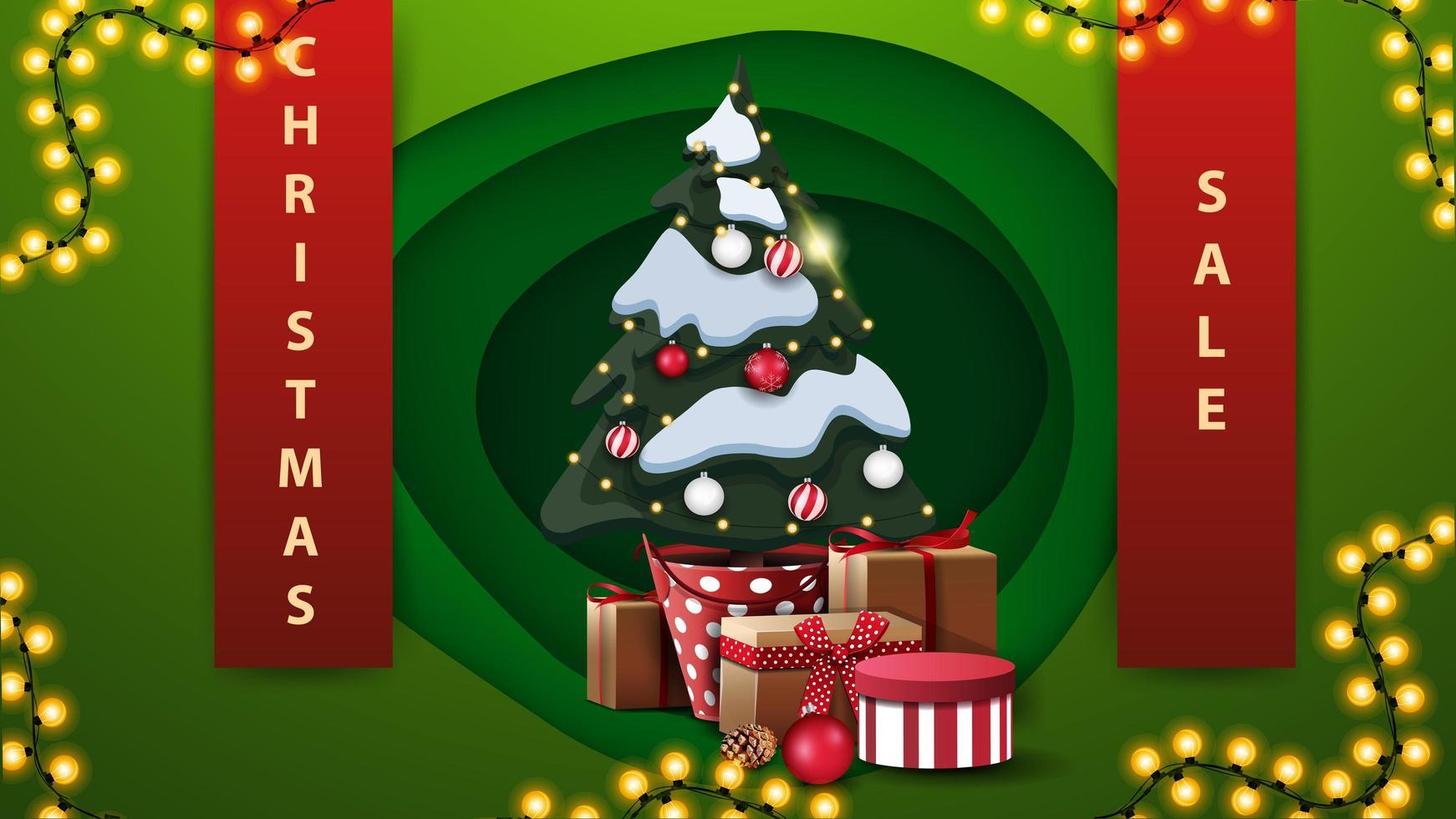 Rabatt Banner mit Bändern, Girlande und Weihnachtsbaum vektor