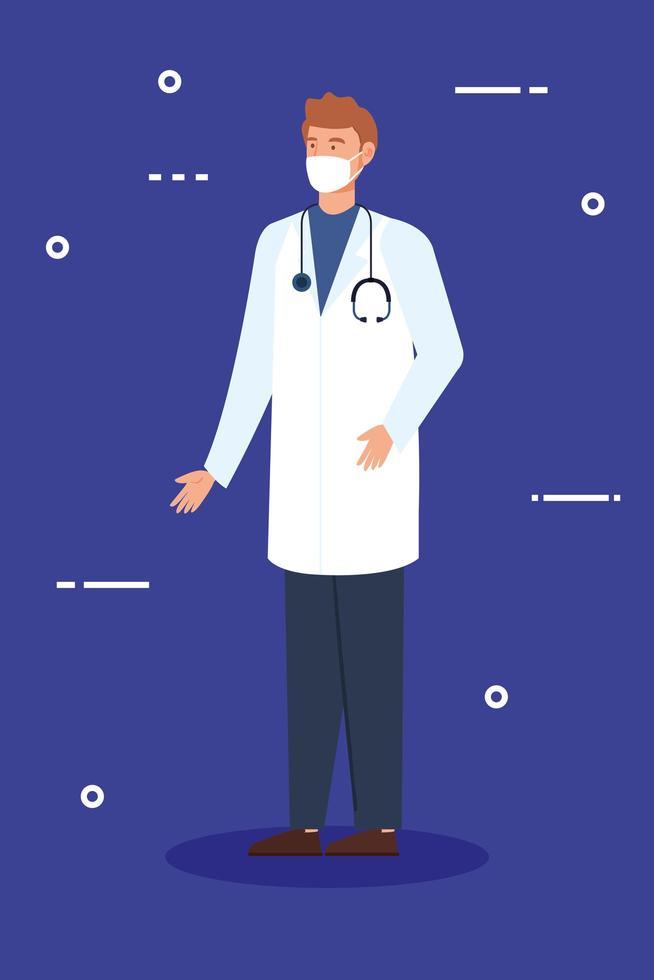 manlig läkare karaktär med ansiktsmask vektor