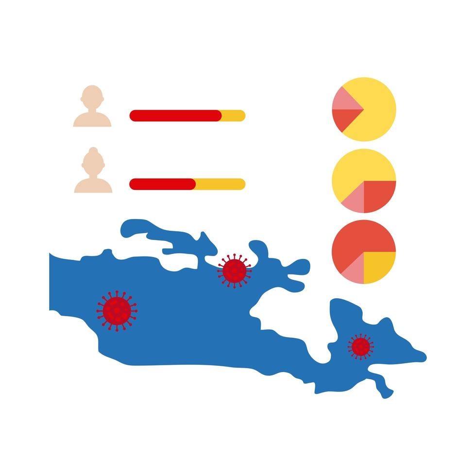 Karte mit Coronavirus-Infografik-Symbol vektor