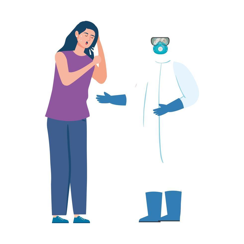 sjuk patient och hälso- och sjukvårdspersonal i Hazmat-kostym vektor