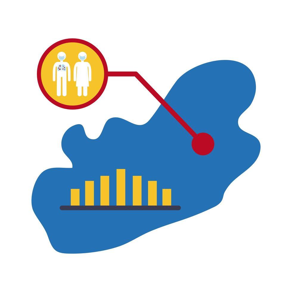 karta med coronavirus infographic ikon vektor