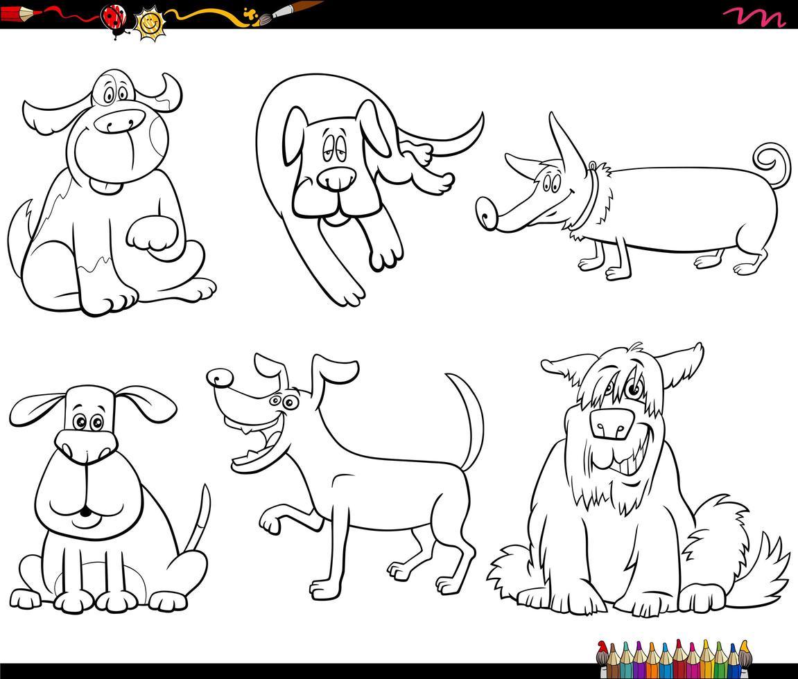 Cartoon Hundefiguren Set Malbuch Seite vektor