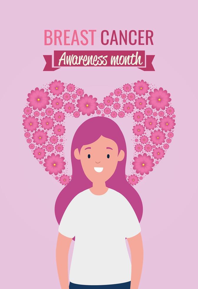 bröstcancermedvetenhetsaffisch med ung kvinna vektor