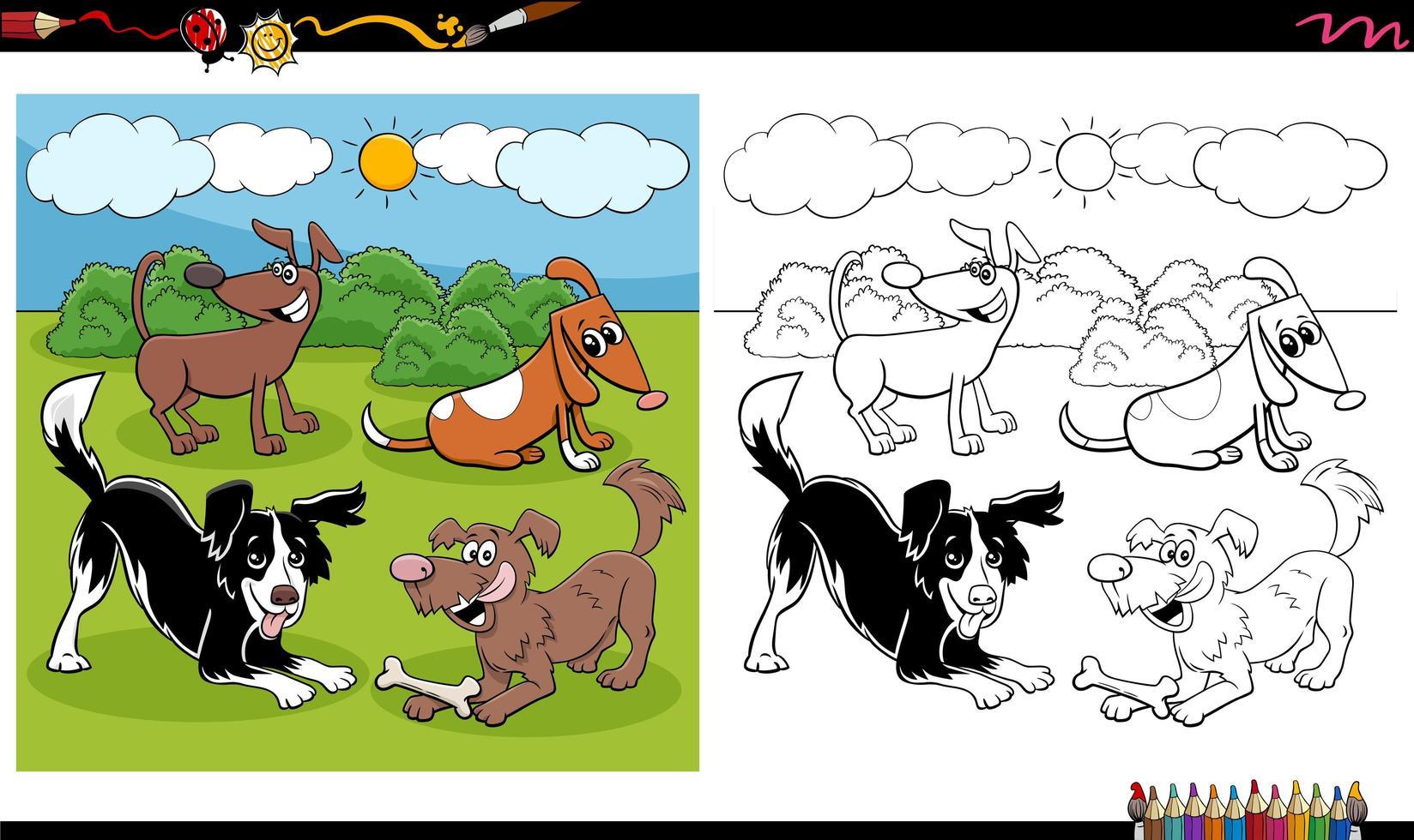 tecknad hund och valpar grupp målarbok sida vektor