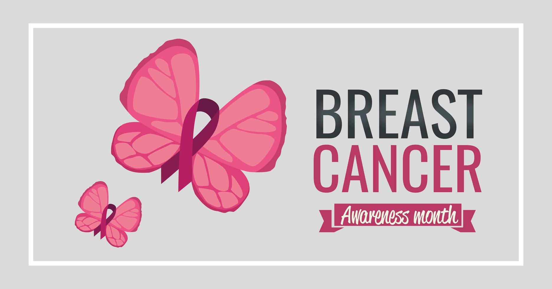 bröstcancermedvetenhetsbanner med fjäril vektor