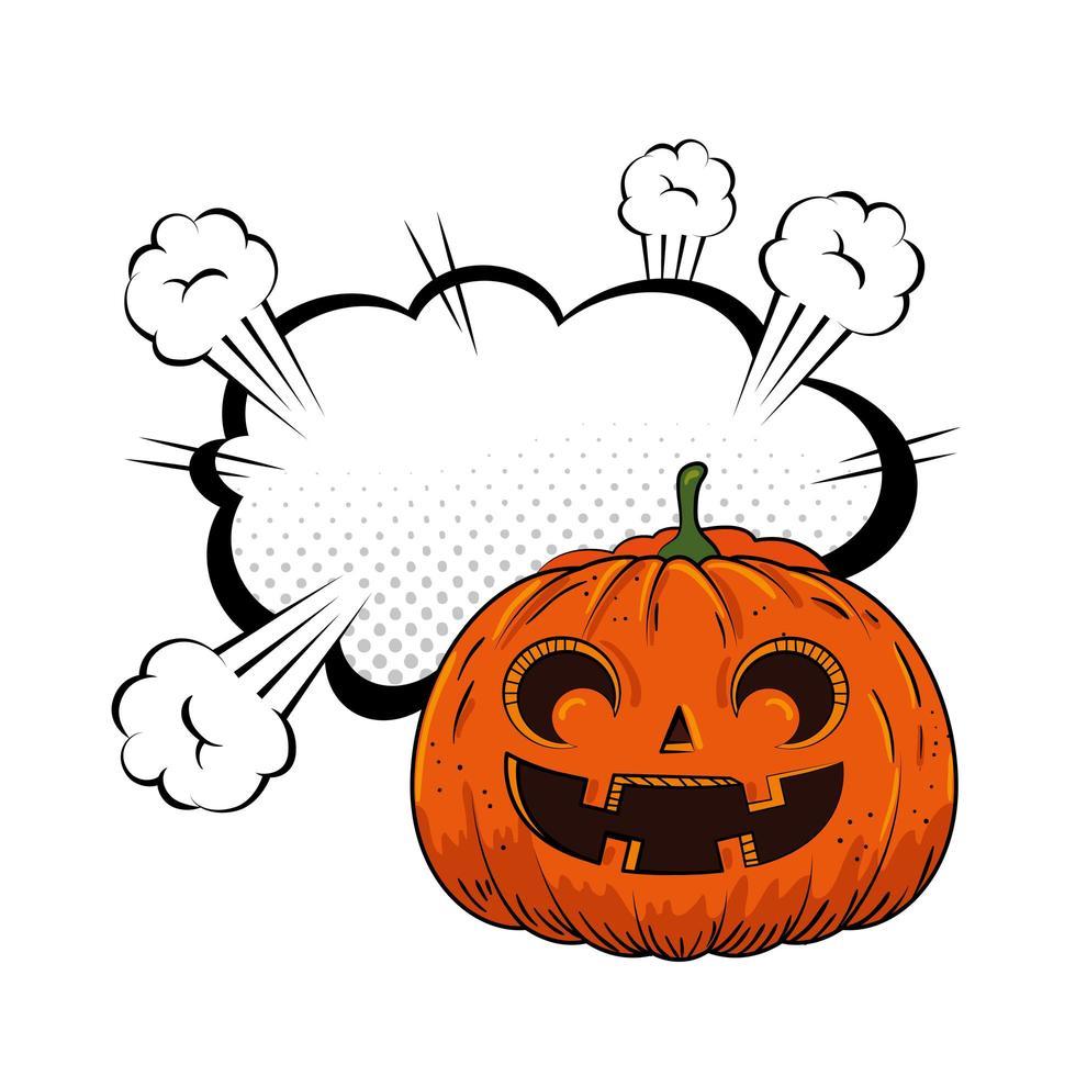 halloween pumpa med popkonst pratbubbla vektor