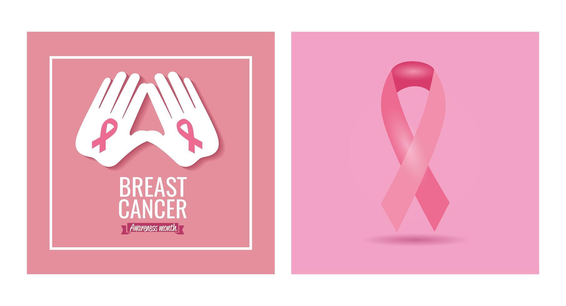 bröstcancer medvetenhet månad banner med band vektor
