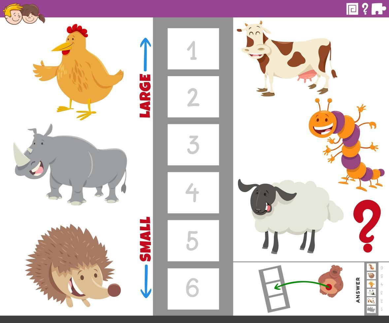 pedagogisk uppgift med djurarter vektor