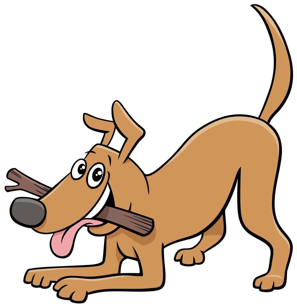 tecknad hund komiska djur karaktär med pinne vektor