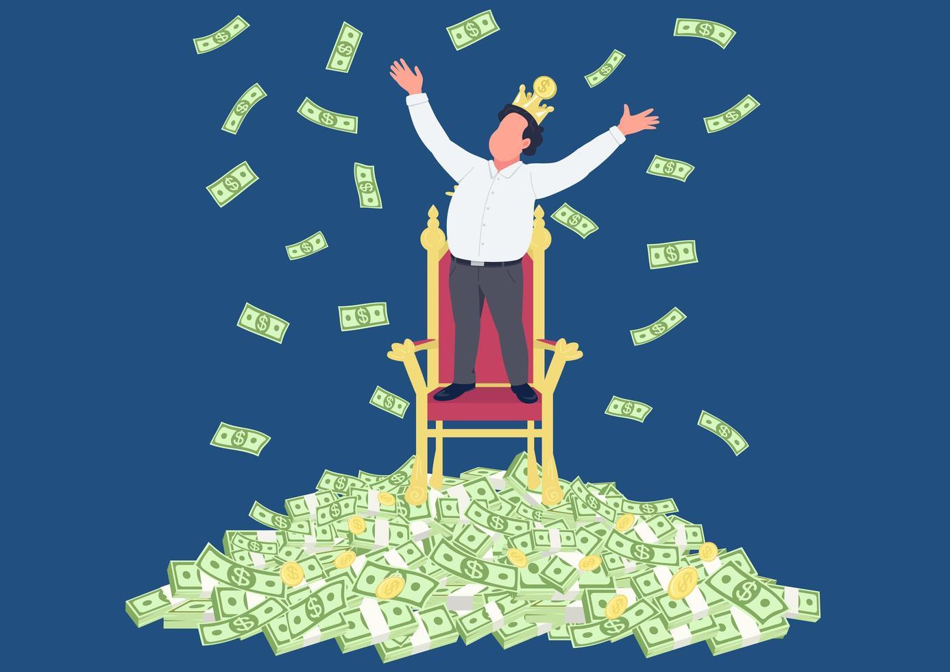 erfolgreicher Geschäftsmann mit Krone auf Geldhaufen vektor