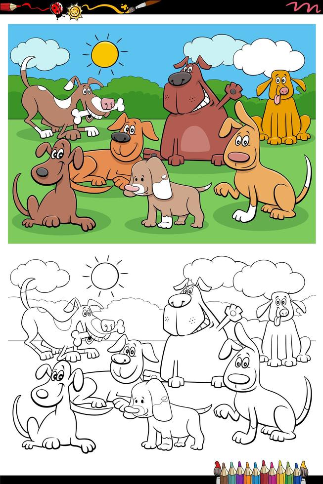 Cartoon Hunde und Welpen Gruppe Malbuch Seite vektor