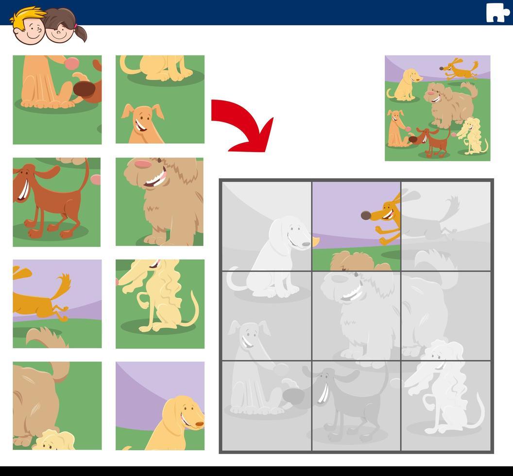 Puzzlespiel mit fröhlichen Hundecharakteren vektor
