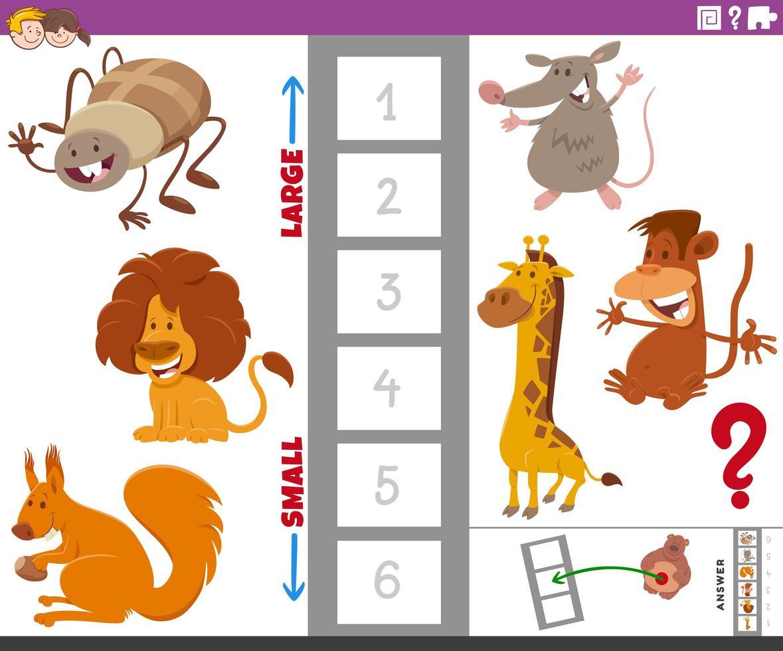 Bildungsaufgabe mit Tierarten vektor