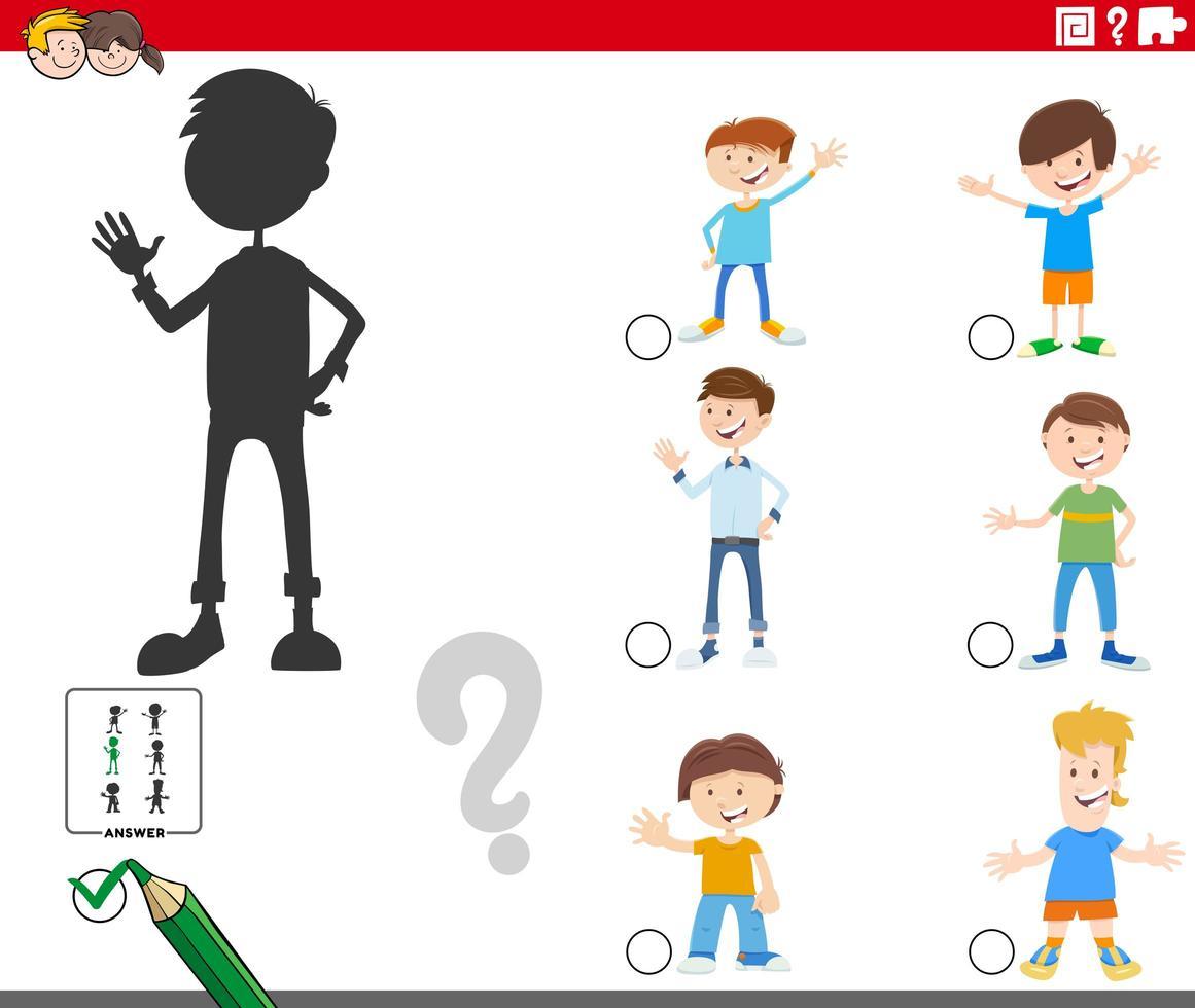 skuggor spel med tecknad pojke karaktärer vektor