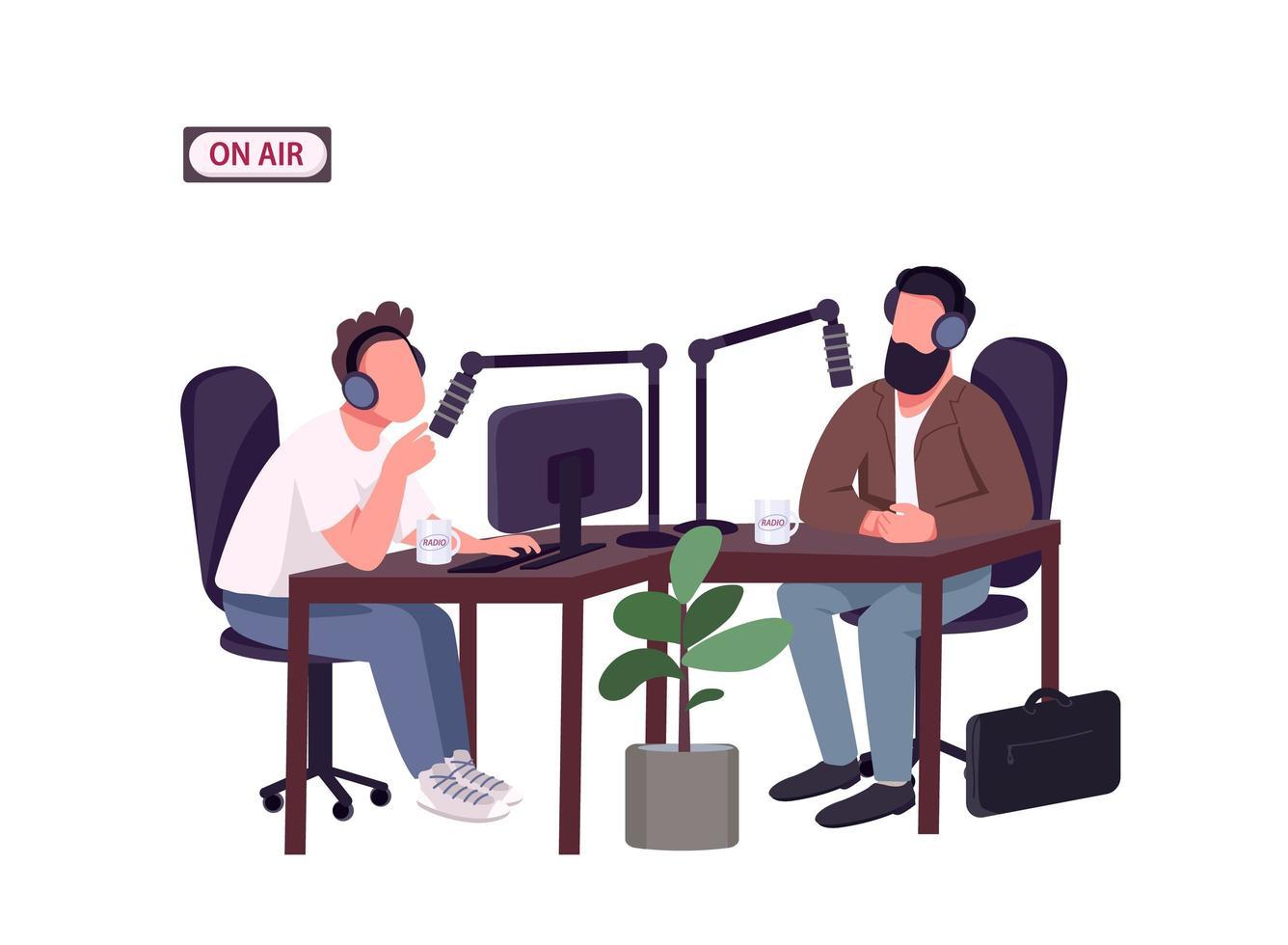 Moderator und Gast der Radiosendung vektor