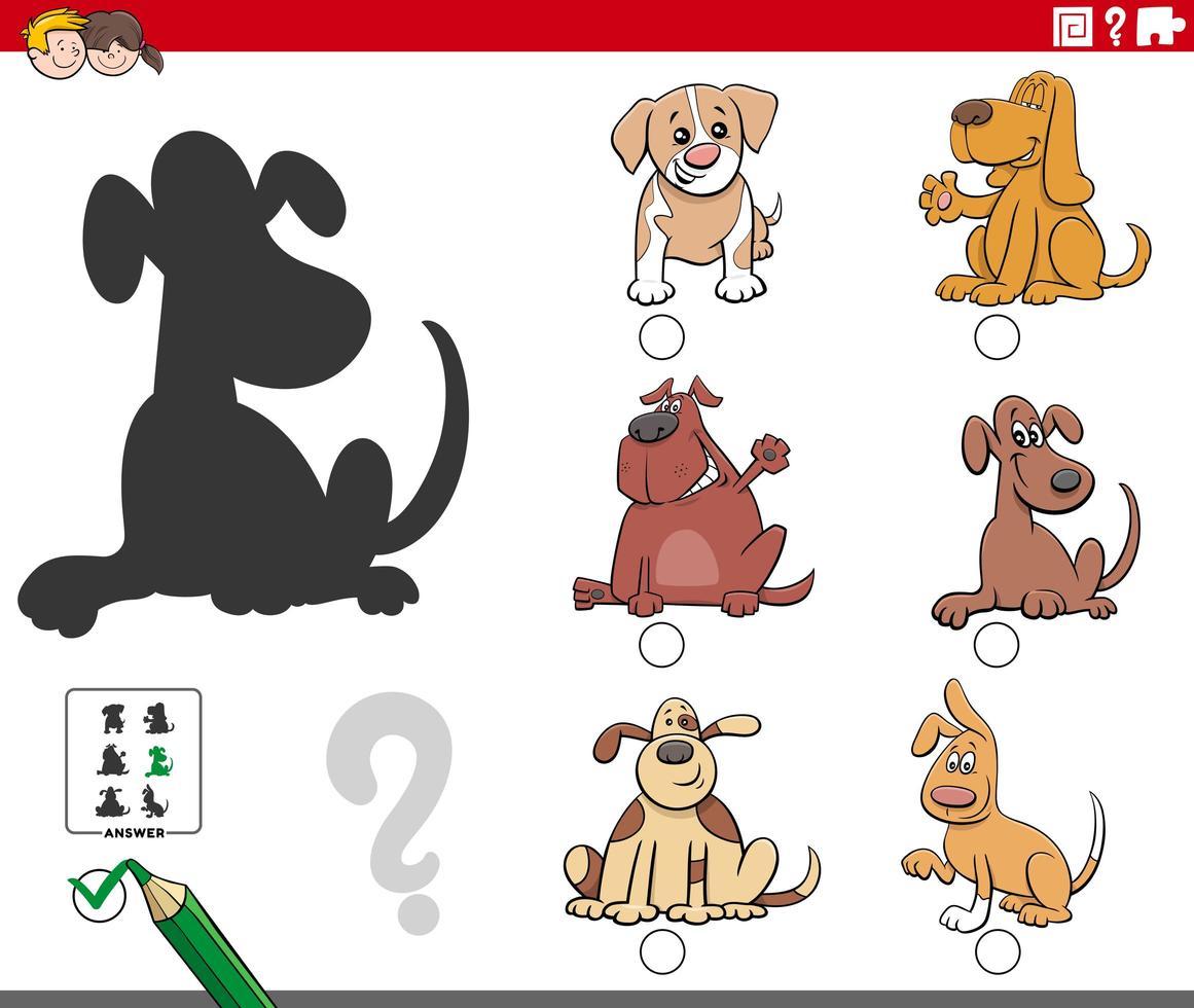 skuggor uppgift med tecknade hundkaraktärer vektor