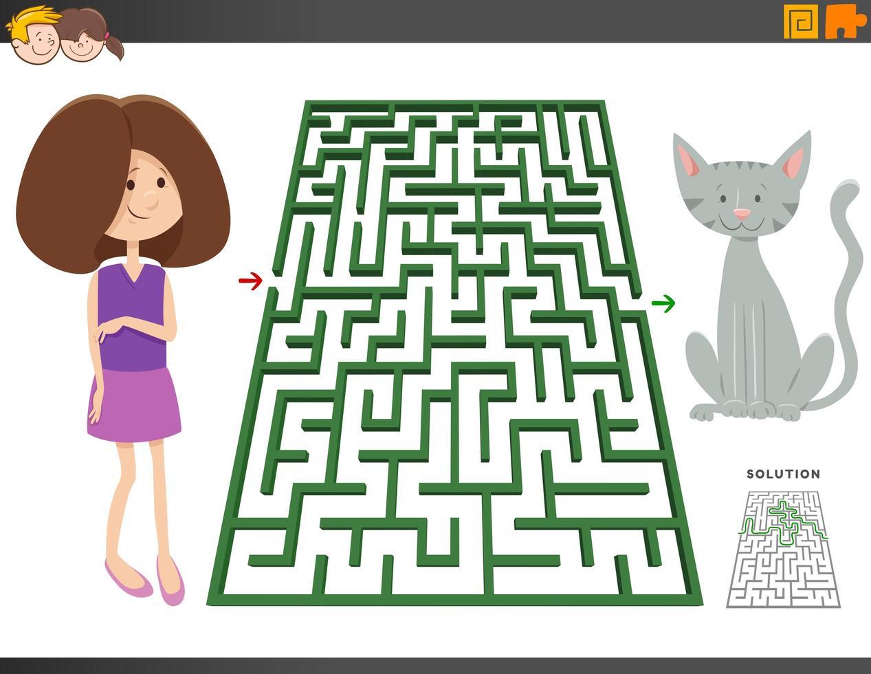 Labyrinthspiel mit Cartoon-Mädchen und Ponypferd vektor