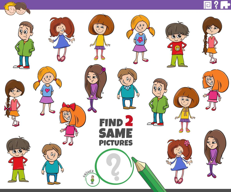 finde zwei gleiche Kinderfiguren Aufgabe vektor
