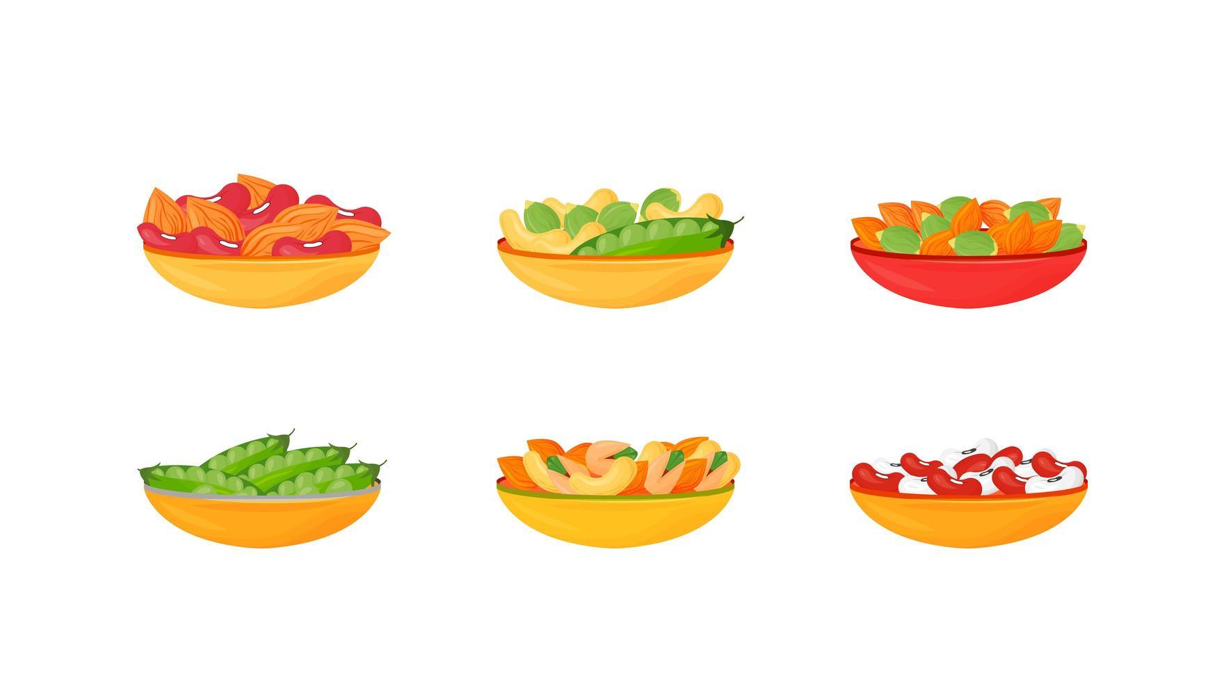 nötter och bönor och frön i skålar vektor