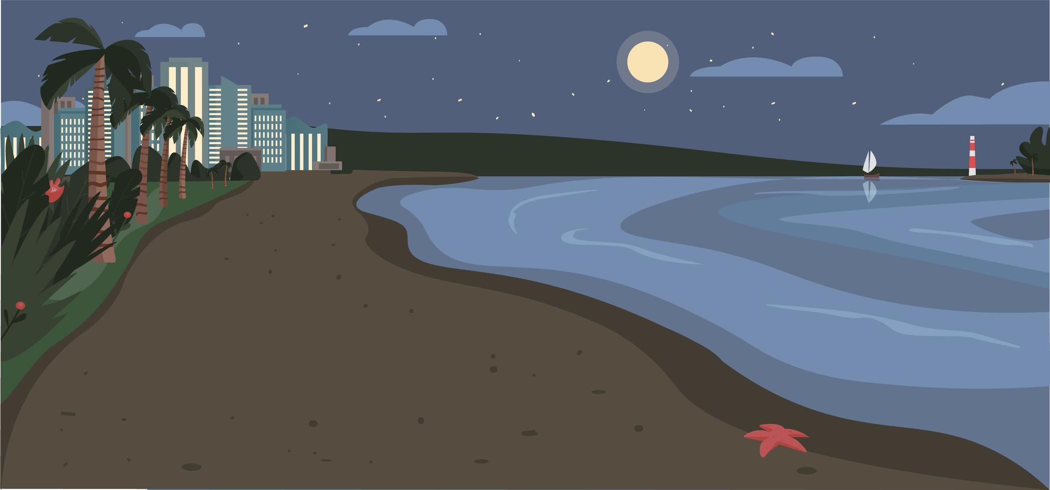 Sandstrand in der Nacht vektor