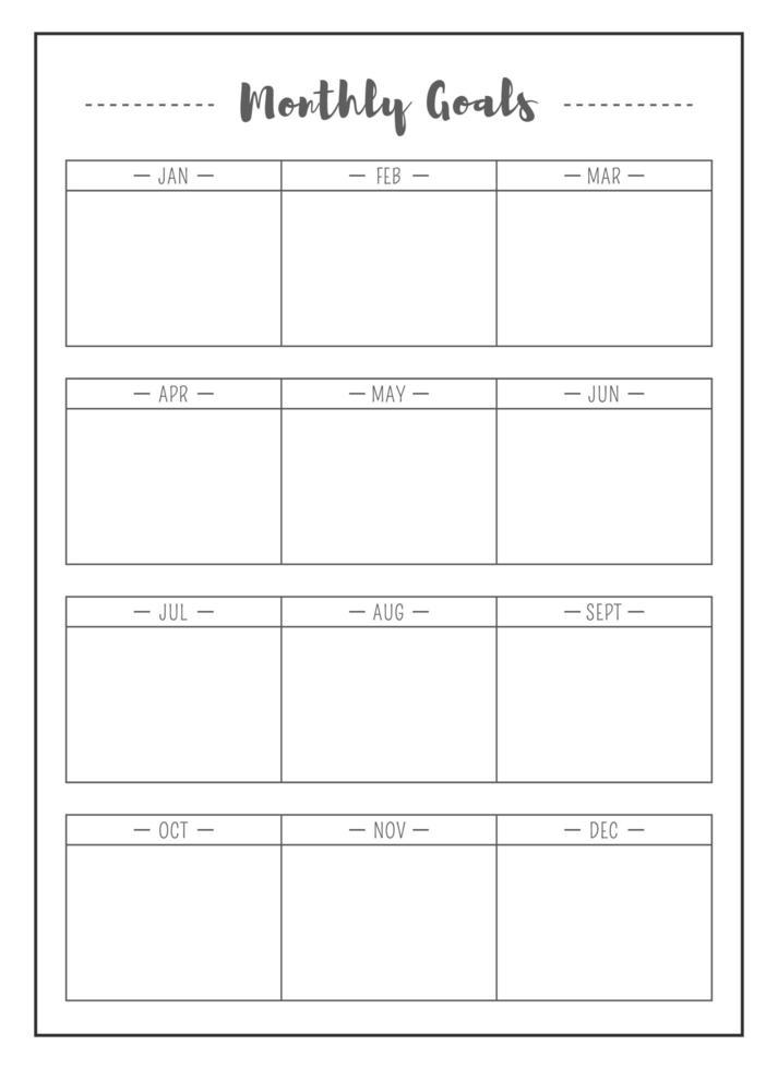 månad uppgift minimalistisk planerare sida design vektor