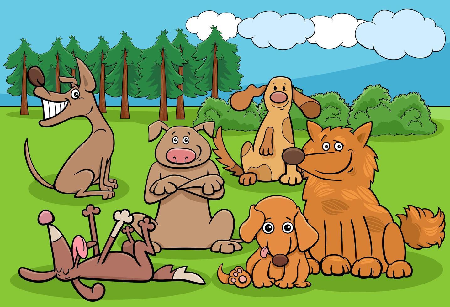 tecknade hundar roliga karaktärer grupp i park vektor