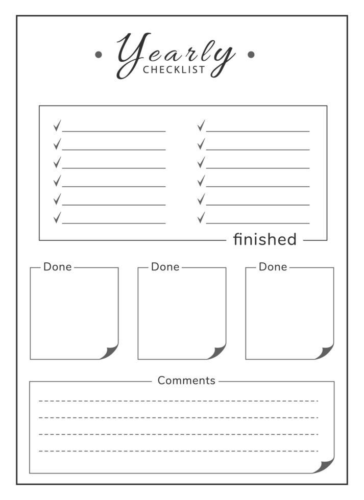 jährliche Liste minimalistischer Planer Seite Design vektor
