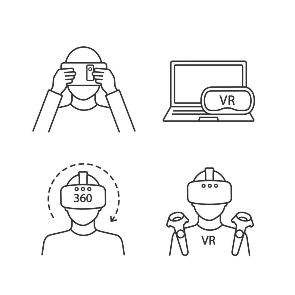 virtuell verklighet linjära ikoner set vektor