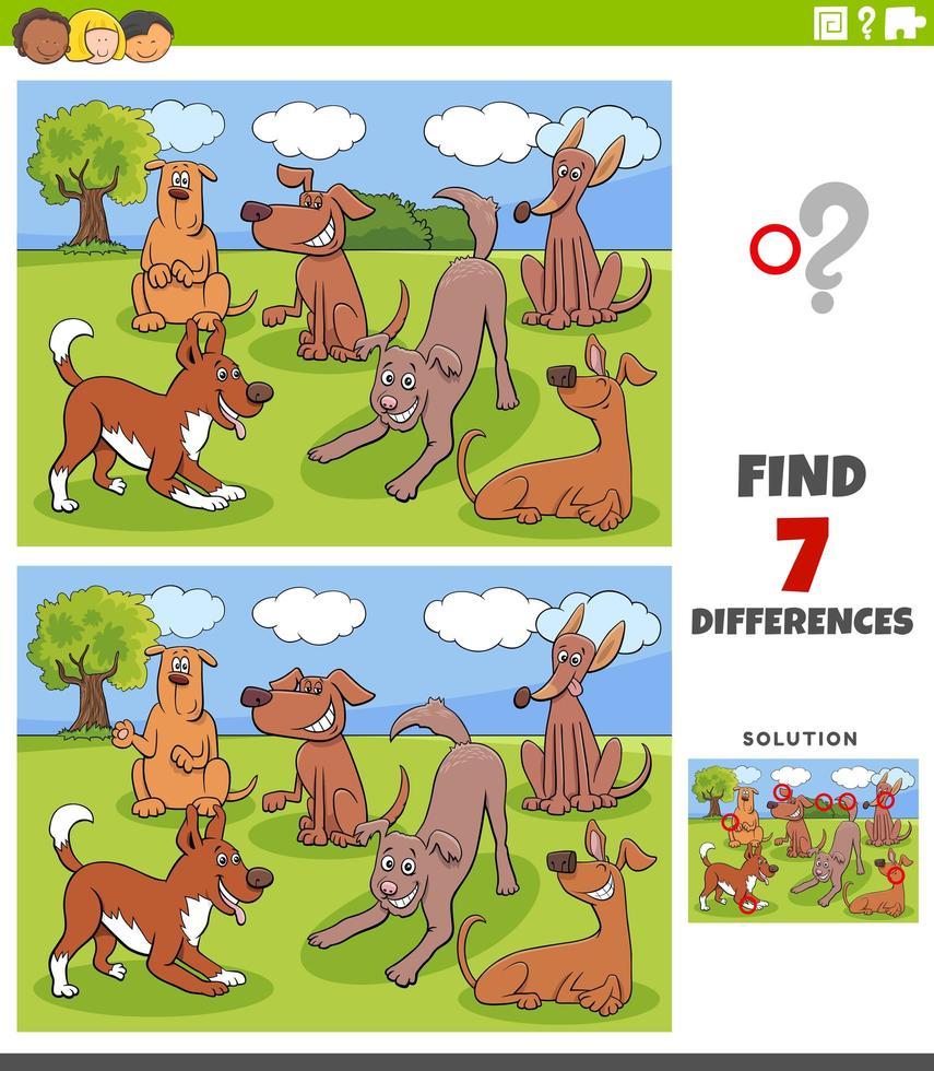 Unterschiede Spiel mit Hunden Charaktere Gruppe vektor