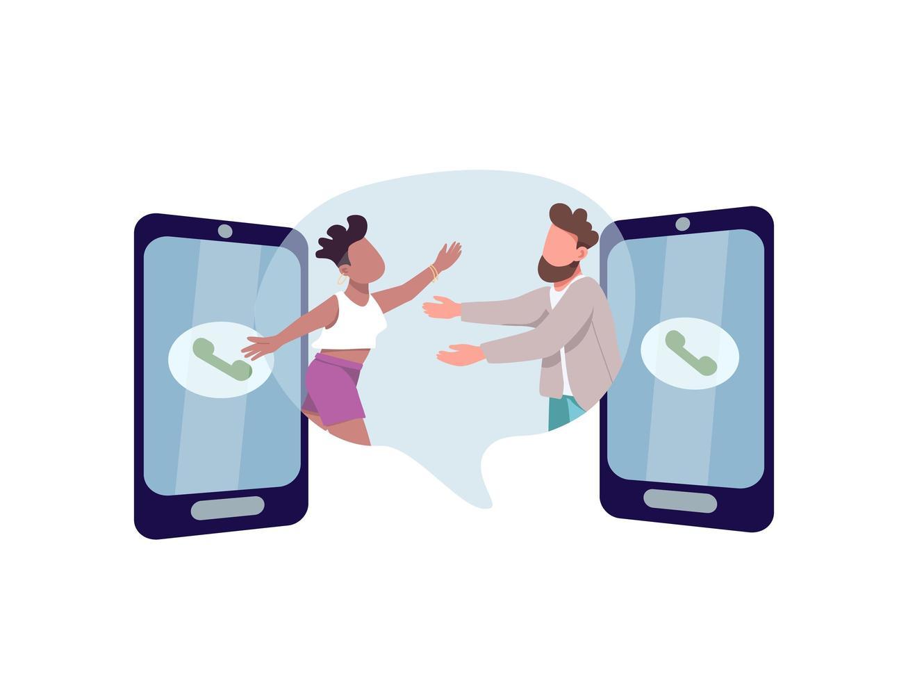 man och kvinna kramar genom telefoner vektor