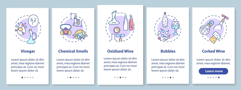 Weinprobe Onboarding Mobile App Seite Bildschirm vektor