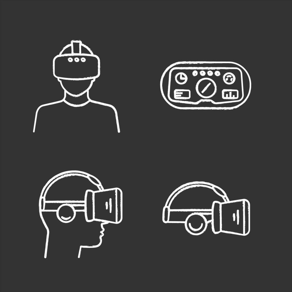 virtuell verklighet krita ikoner set. vektor