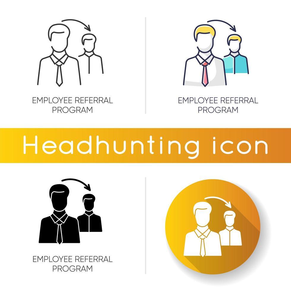 Symbole für Mitarbeiterempfehlungsprogramme vektor