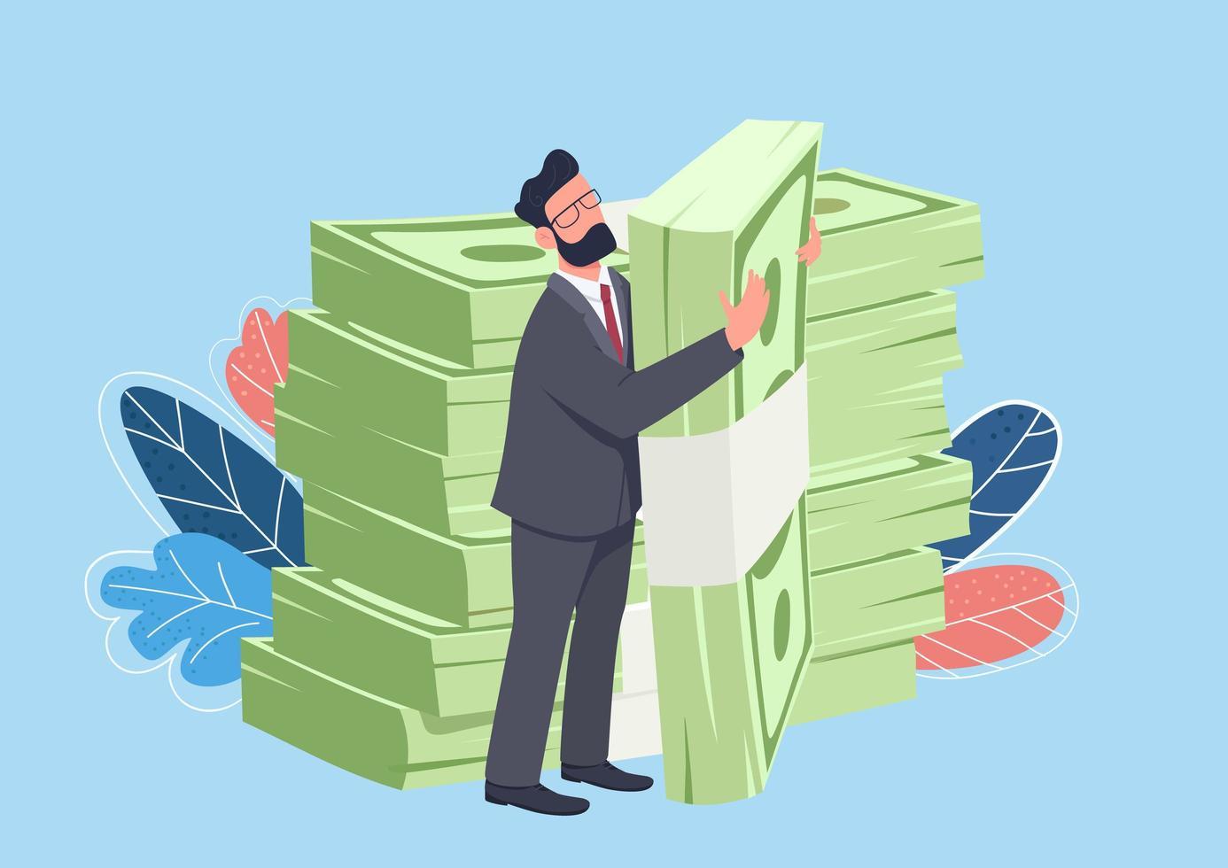 affärsman kramar stora cash pack vektor