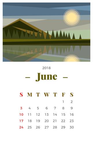 Juni 2018 Landskap Månadskalender vektor