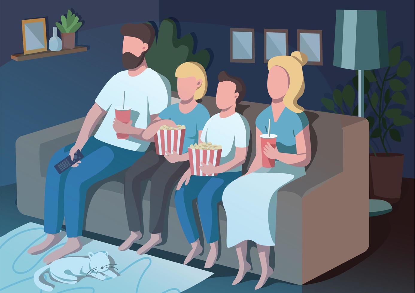 familjens filmkväll vektor
