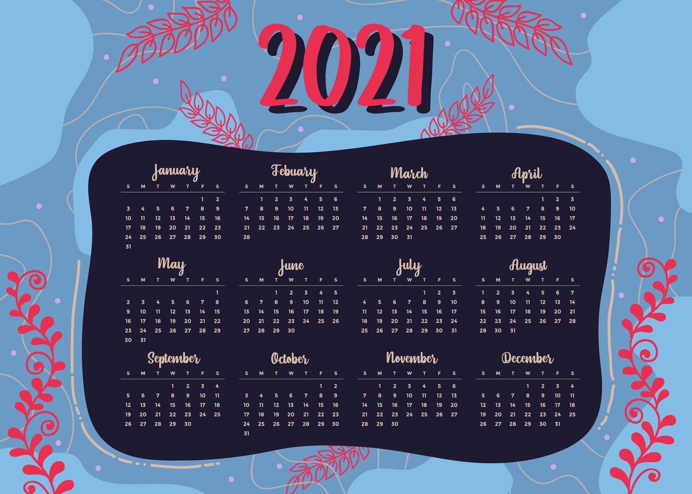 moderner Stil 2021 Neujahrskalender Design im geometrischen Stil vektor