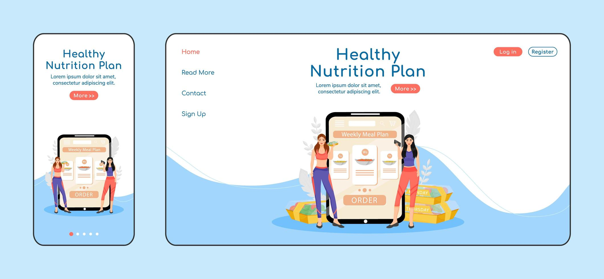 hälsosam näringsplan anpassningsbar målsida vektor