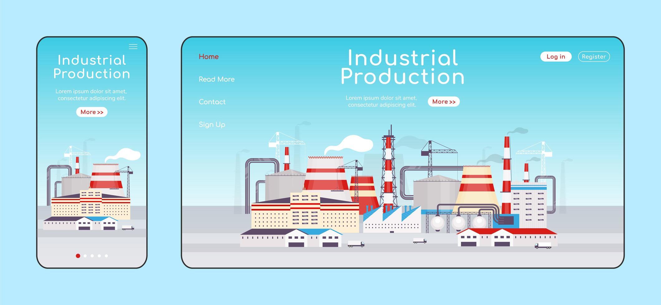 anpassningsbar målsida för industriproduktion vektor