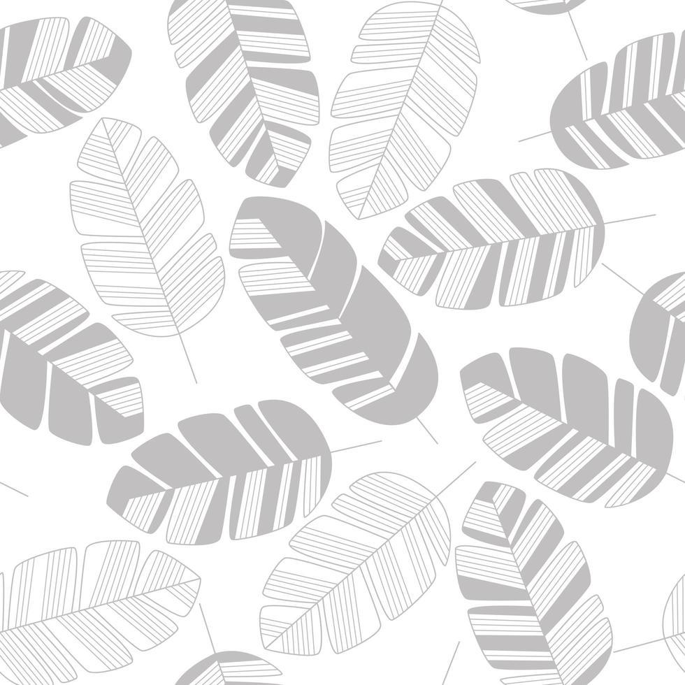 sömlösa mönster med grå löv på vit bakgrund vektor