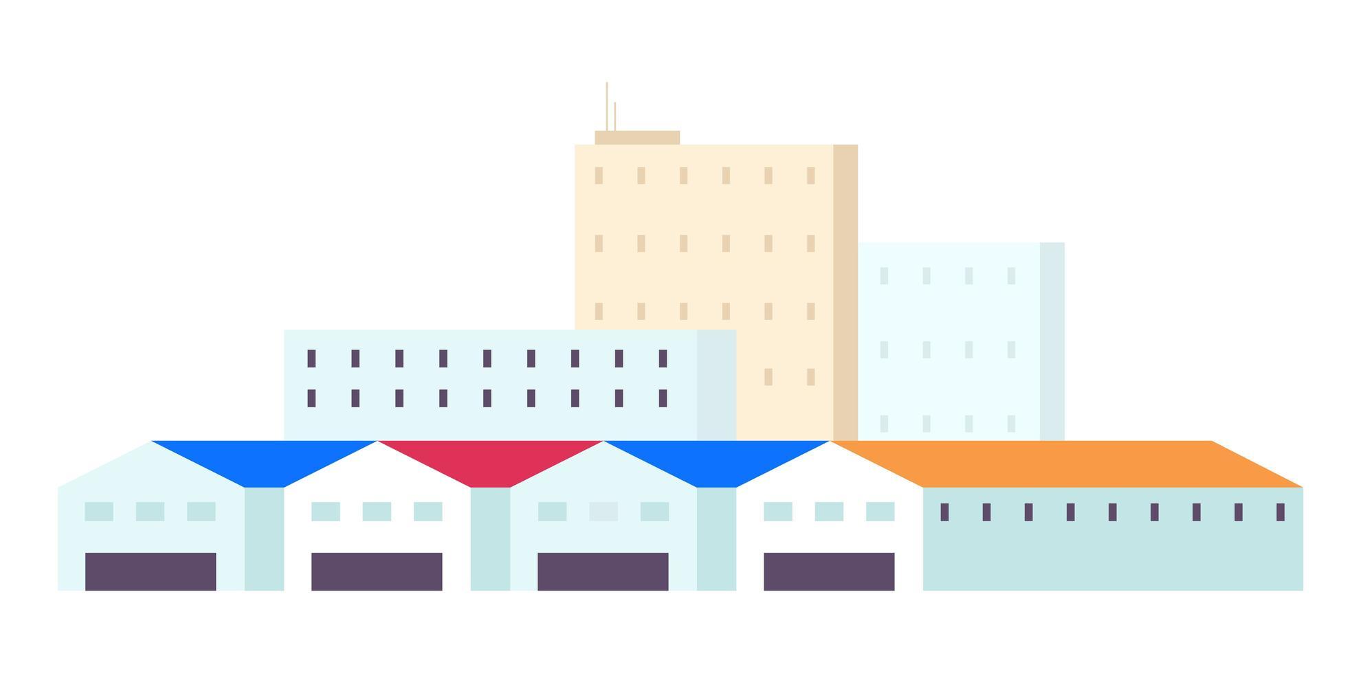 mehrstöckige Gebäude und geräumige Hangars vektor