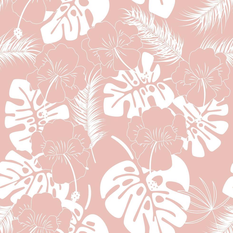 sömlöst tropiskt mönster med vita monstera löv vektor