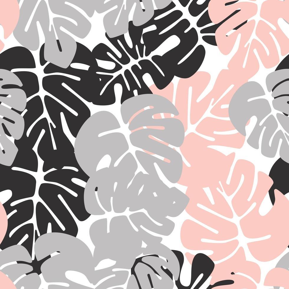 nahtloses Sommermuster mit bunten Monstera-Palmblättern vektor